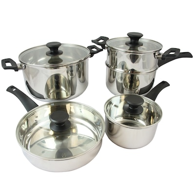 Oster Sabato Stainless Steel 9 Piece Cookware Set, Silver (74056.09)