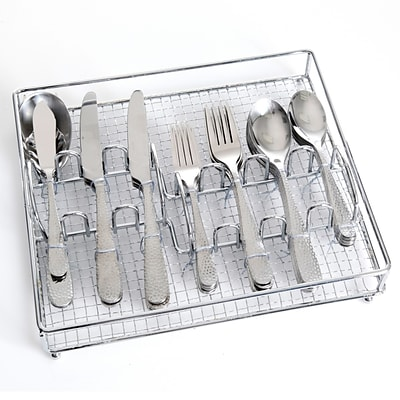 Gibson Home 109532.46 Hammered Stainless Steel 46-Piece Flatware Set with Wire Caddy