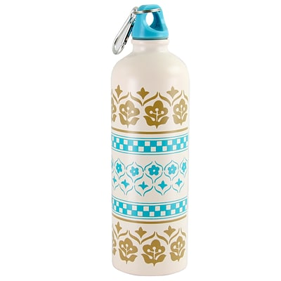 General Store Cottage Single Wall Hydration Bottle,Beige and Blue,26 oz. (116316.01)