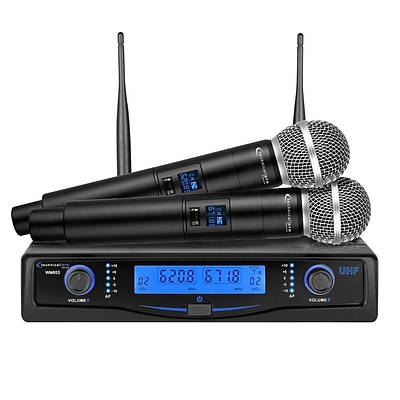Technical Pro WM853  Professional UHF Dual Wireless Microphone System with Carrying Case