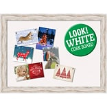 Amanti Art Framed White Christmas Card Cork Board Alexandria White Wash 32 x 24 Frame White (DSW39