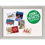Amanti Art Framed White Christmas Card Cork Board Romano Silver 32 x 24 Frame Silver (DSW3998815)