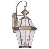 Livex Lighting 2-Light Antique Brass Outdoor Wall Lantern with Clear Beveled Glass (2261-01)