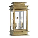 Livex Lighting 2-Light Antique Brass Outdoor Wall Mount Lantern (2014-01)