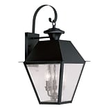 Livex Lighting 3-Light Black Outdoor Wall Lantern with Seeded Glass (2168-04)