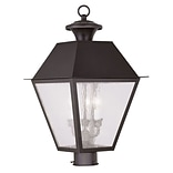Livex Lighting 3-Light Bronze Outdoor Post Lantern with Seeded Glass (2169-07)