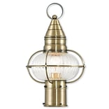 Livex Lighting 1-Light Antique Brass Post Lantern with Hand Blown Fluted Clear Glass (27002-01)