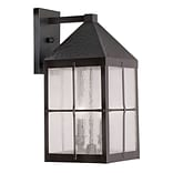 Livex Lighting 3-Light Hammered Bronze Finish Outdoor Wall Lantern with Seeded Glass (2682-07)