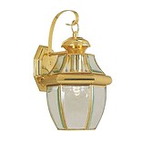 Livex Lighting 1-Light Bright Brass Outdoor Wall Lantern with Clear Beveled Glass (2151-02)