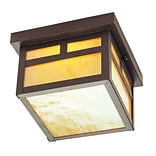 Livex Lighting 1-Light 5.5 in. Bronze Outdoor Iridescent Tiffany Glass Flush Mount (2138-07)