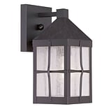 Livex Lighting 1-Light Hammered Bronze Finish Outdoor Wall Lantern with Seeded Glass (2680-07)