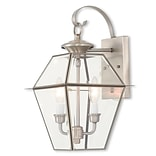 Livex Lighting 2-Light Brushed Nickel Outdoor Wall Lantern with Clear Beveled Glass (2281-91)