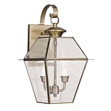 Livex Lighting 2-Light Antique Brass Outdoor Wall Lantern with Clear Beveled Glass (2281-01)