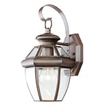 Livex Lighting 1-Light 13 in. Bronze Finish Clear Flat Glass Outdoor Wall Lantern (2051-58)