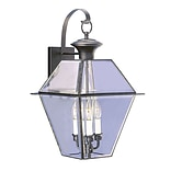 Livex Lighting 3-Light Black Outdoor Wall Lantern with Clear Beveled Glass (2381-04)