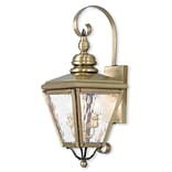 Livex Lighting 2-Light Antique Brass Outdoor Wall Lantern with Clear Water Glass (2031-01)