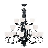 Livex Lighting 16-Light Black Chandelier with Hand Blown Satin Opal White Glass (4789-04)