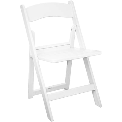 Advantage White Resin Folding Chairs With Slatted Seat (RFWCA-100-SLAT)