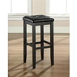 Crosley Upholstered Square Seat Bar Stool in Black Finish with 29 Inch Seat Height. (Set of Two) (CF