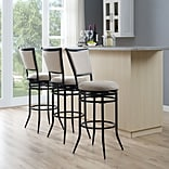 Crosley Rachel Swivel Bar Stool in Black with White Cushion (CF520030BK-WH)