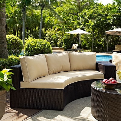 Crosley Catalina Outdoor Wicker Round Sectional Sofa With Sand Cushions (CO7120-BR)