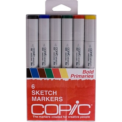 Alvin Copic Sketch 6-Color Bold Primary Marker Set (ANSBOLDPRI)