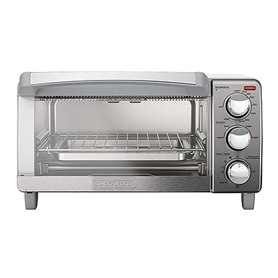 Black & Decker® Stainless Steel 4-Slice Natural Convection Countertop Toaster Oven, Silver (TO1760SS)