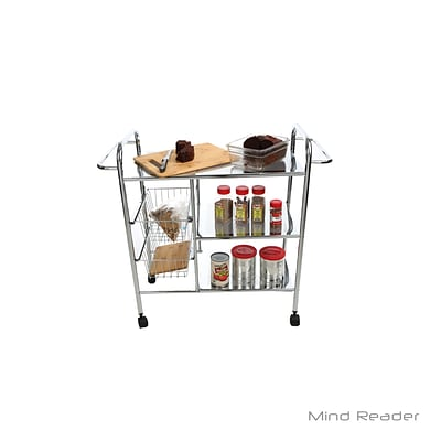 Mind Reader 3 Tier Metal Cart with 2 Wire Baskets, Silver (3CAR2BASK-SIL)