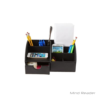 Mind Reader Faux Leather Curved Desk Organizer, Black (CURVORG-BLK)