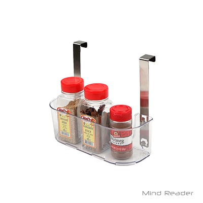 Mind Reader Acrylic Storage Shelf with Hooks, Clear (KITCHOOK-CLR)