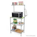 Mind Reader 3 Tier Microwave Shelf Counter Unit with Hooks, Silver (MIC3T-SIL)