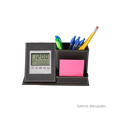 Mind Reader 3 Compartment With Clock Desk Organizer, Black (CLOCKORG-BLK)