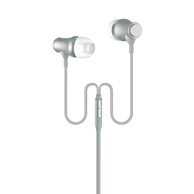 Metal Earbuds with Mic, 3.5mm Corded Stereo Earphones, iPhone iPod Samsung Galaxy HTC S6/7/8 ZTE LG, Silver (OTEB-MTL-SL)