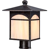 Satco Incandescent 1-Light Umber Bronze Post Light with Honey Stained Glass Shade (STL-SAT656552)