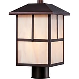 Satco Incandescent 1-Light Claret Bronze Post Light with Honey Stained Glass Shade (STL-SAT656750)
