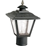 Satco Incandescent 1-Light Black Post Light with Acrylic Panels Aluminum Shade (STL-SAT778988)