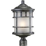Satco Incandescent 1-Light Aged Silver Post Light with Frosted Seed Glass Shade (STL-SAT656354)
