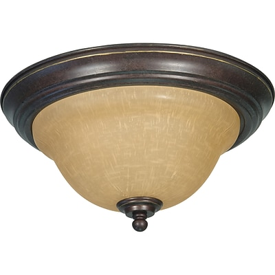 Satco Incandescent 2-Light Sonoma Bronze Flush Mount with Champagne Linen Shades (STL-SAT610387)