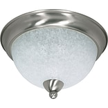 Satco Incandescent 3-Light Brushed Nickel Flush Mount with Water Spot Glass Shades (STL-SAT601316)