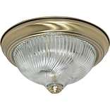Satco Incandescent 2-Light Antique Brass Flush Mount with Clear Swirl Glass Shades (STL-SAT602290)
