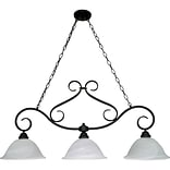 Satco Incandescent 3-Light Textured Black Island Pendant with Alabaster Swirl Glass Shades (STL-SAT6