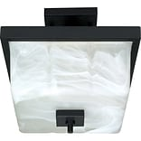 Satco Incandescent 2-Light Textured Black Semi-Flush Mount with Square Alabaster Swirl Glass Shades