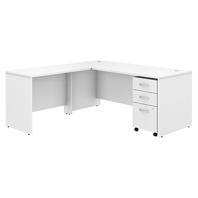 Bush Business Furniture Studio C 72W x 30D L Shaped Desk with Mobile File Cabinet and 42W Return - Installed, White (STC007WHFA)