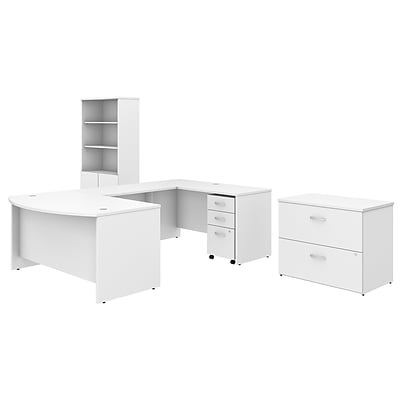 Bush Business Furniture Studio C 60W x 36D U Shaped Desk with Bookcase and File Cabinets, White, , Installed (STC002WHSUFA)