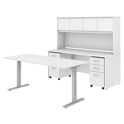 Bush Business Furniture Studio C 72W Height Adjustable Standing Desk Credenza Hutch and Mobile File Cabinets Installed, White