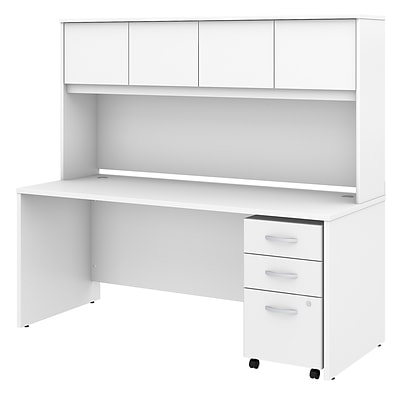 Bush Business Furniture Studio C 72W x 30D Office Desk with Hutch and Mobile File Cabinet, White, Installed (STC011WHSUFA)