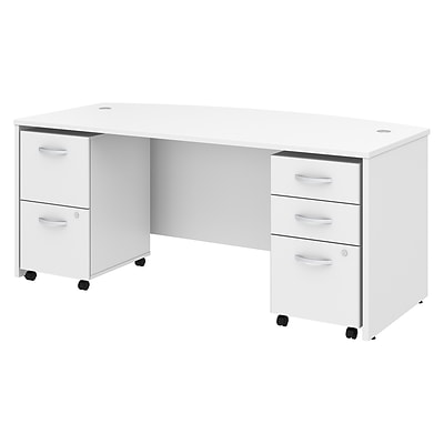 Bush Business Furniture Studio C 72W x 36D Bow Front Desk with Mobile File Cabinets Installed, White (STC012WHFA)