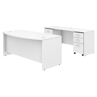 Bush Business Furniture Studio C 72W x 36D Bow Front Desk and Credenza with Mobile File Cabinets Installed, White (STC009WHFA)