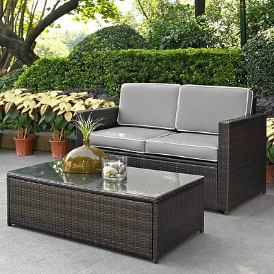 Crosley Palm Harbor 2 Piece Outdoor Wicker Seating Set With Grey Cushions- Loveseat & Glass Top Table (KO70002BR-GY)