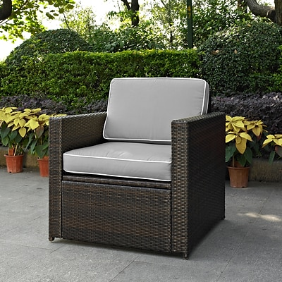 Crosley Palm Harbor Outdoor Wicker Arm Chair In Brown With Grey Cushions (KO70088BR-GY)